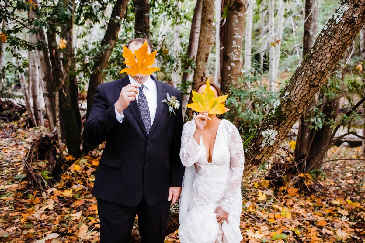 wedding autumn leaves big sur photography